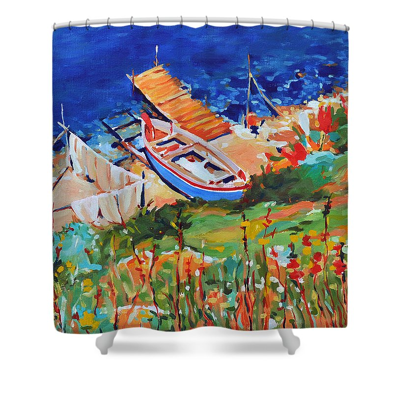 Seascape Shower Curtain featuring the painting Seacoast by Iliyan Bozhanov