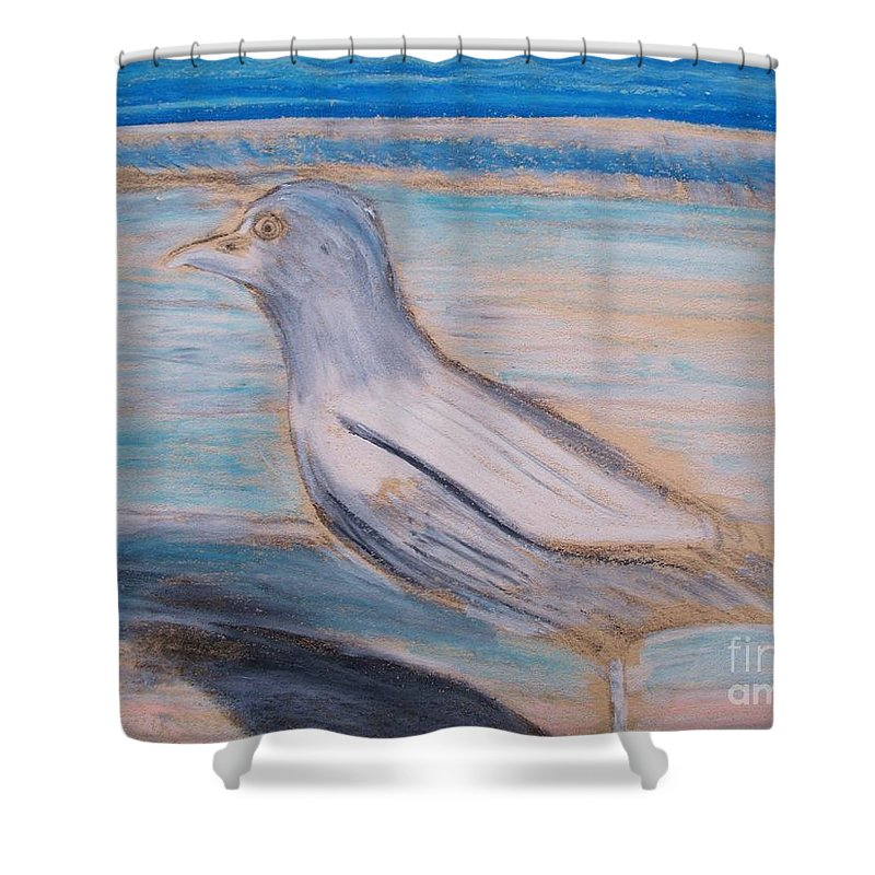 Seagull Shower Curtain featuring the painting Seagull On Seashore by Eric Schiabor