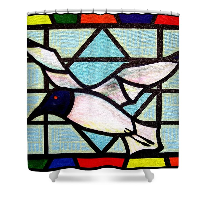 Seagull Shower Curtain featuring the painting Seagull Serenade by Jim Harris