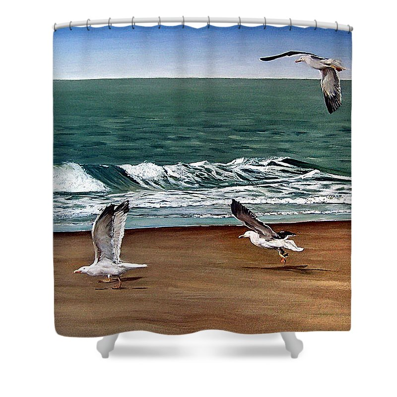 Seascape Shower Curtain featuring the painting Seagulls 2 by Natalia Tejera