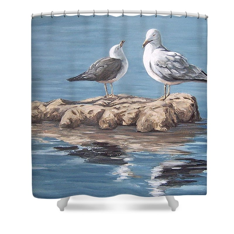 Seagulls Sea Seascape Water Bird Shower Curtain featuring the painting Seagulls In The Sea by Natalia Tejera
