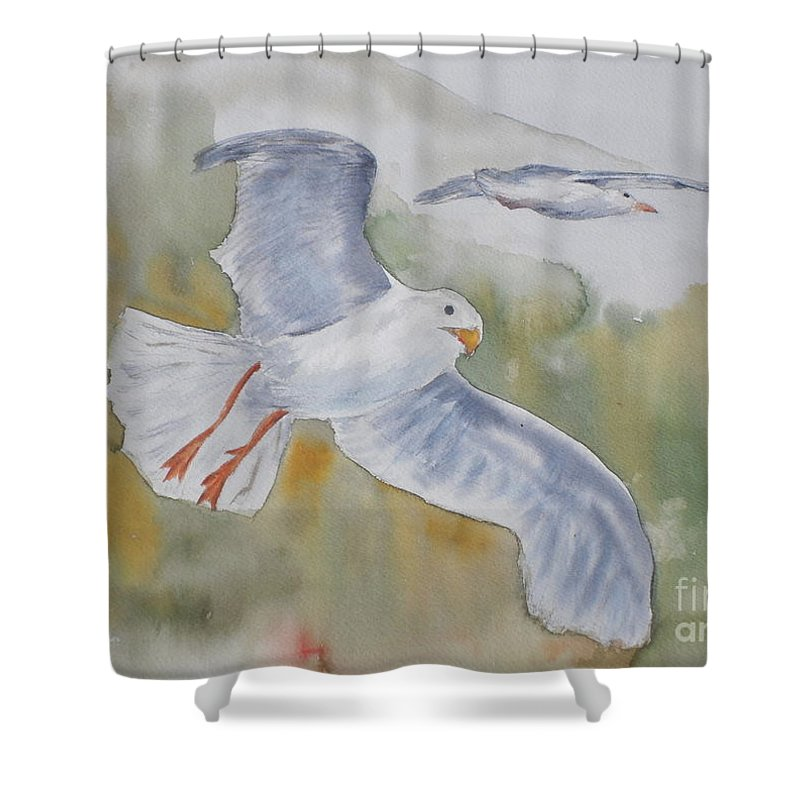 Souring Shower Curtain featuring the painting Seagulls Over Glacier Bay by Vicki Housel