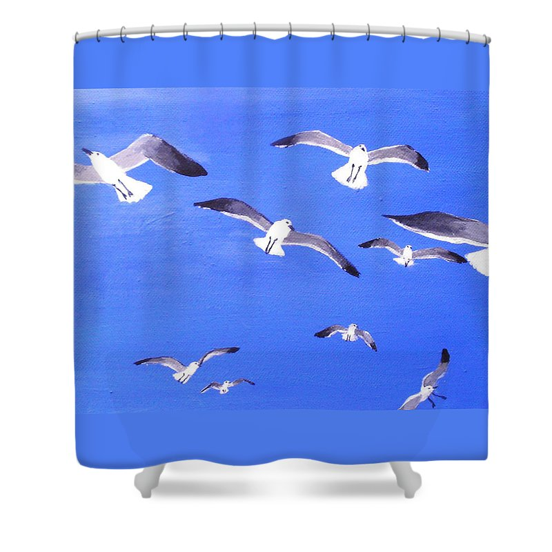 Seagulls Shower Curtain featuring the painting Seagulls Overhead by Anne Marie Brown