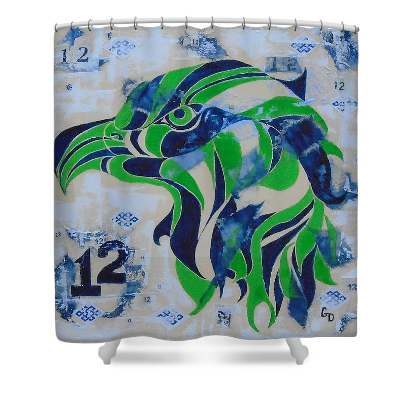 Seattle Shower Curtain Featuring The Painting Seahawk 12 By Georgia Donovan