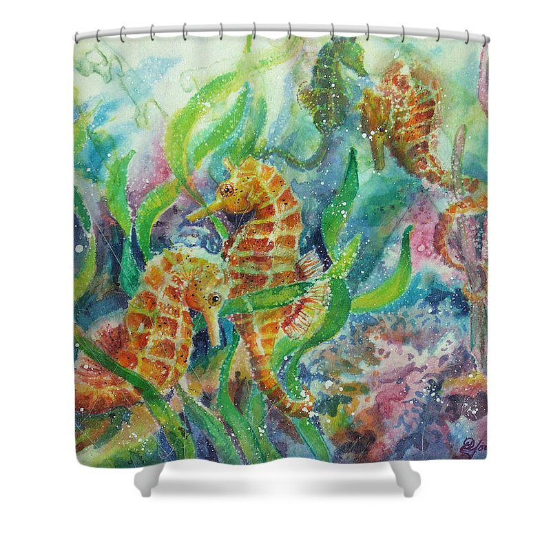 Seahorse Shower Curtain featuring the painting Seahorses Three by Deborah Younglao