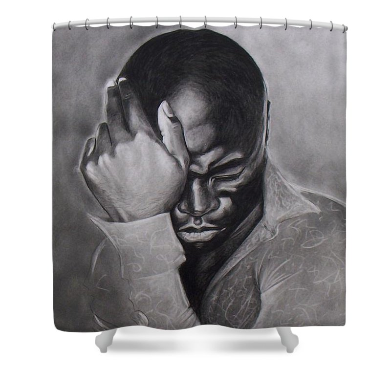 Seal Drawings Veronica Jackson Black And White Pencil Shower Curtain featuring the drawing Seal by Veronica Jackson