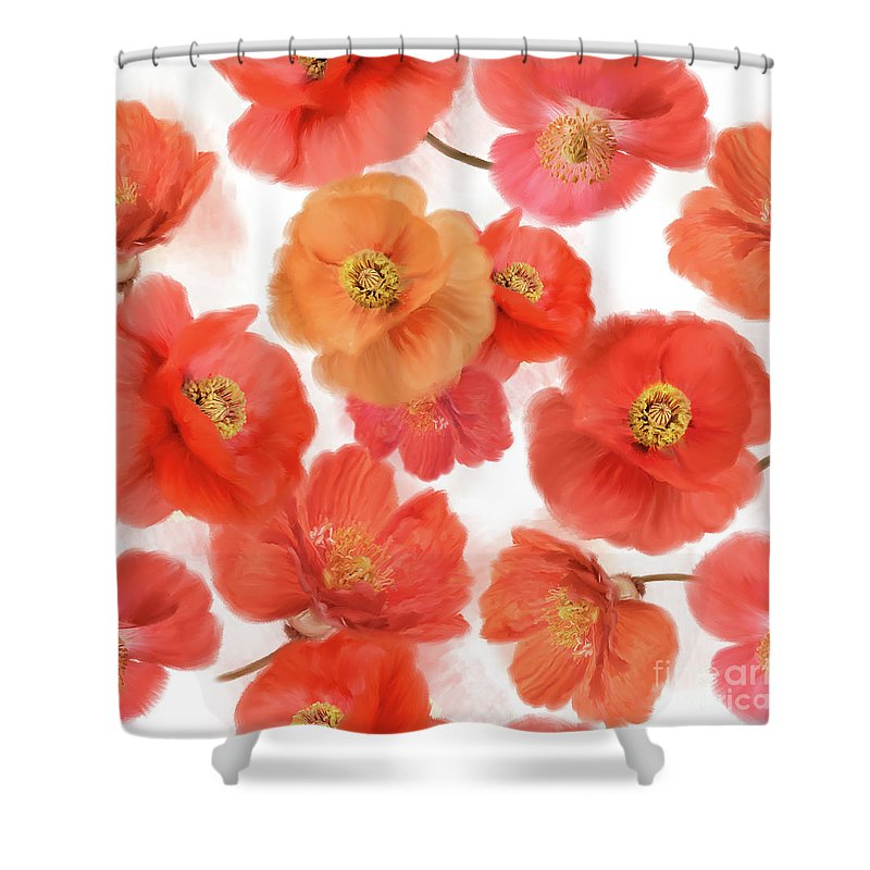 Poppy Shower Curtain featuring the digital art Seamless  Pattern Of Watercolor Poppy Flowers by Svetlana Foote