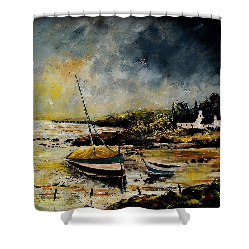 Sea Shower Curtain featuring the painting Seascape 452654 by Pol Ledent