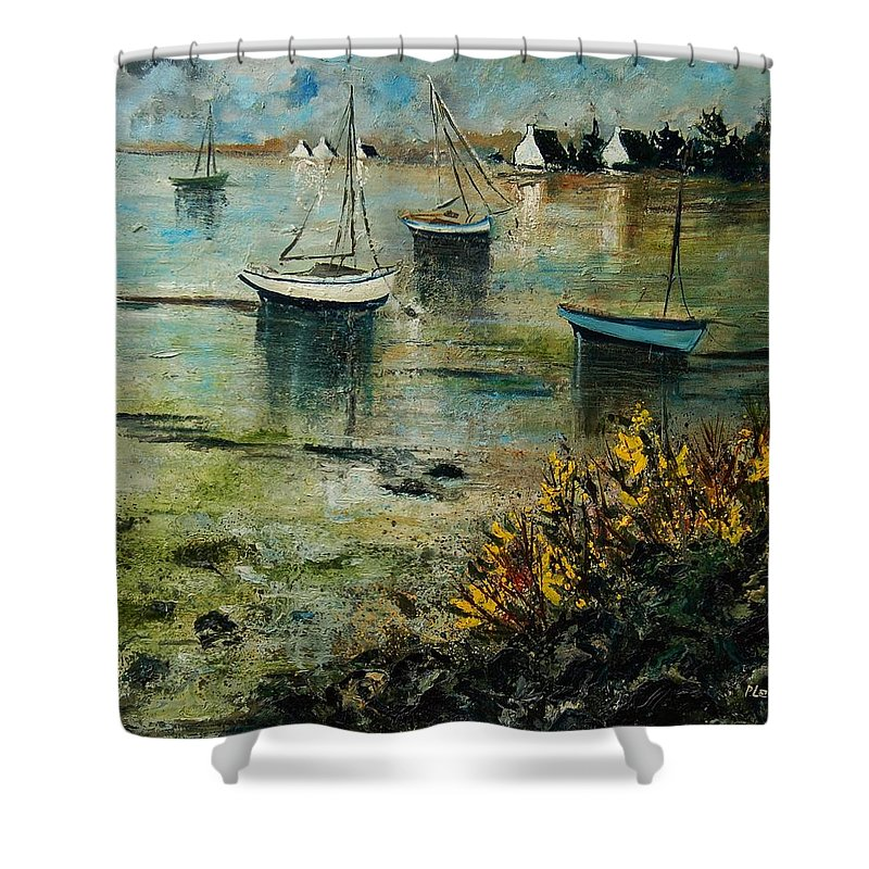 Seascape Shower Curtain featuring the print Seascape 78 by Pol Ledent