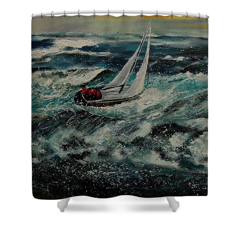 Sea Shower Curtain featuring the painting Seascape 97 by Pol Ledent