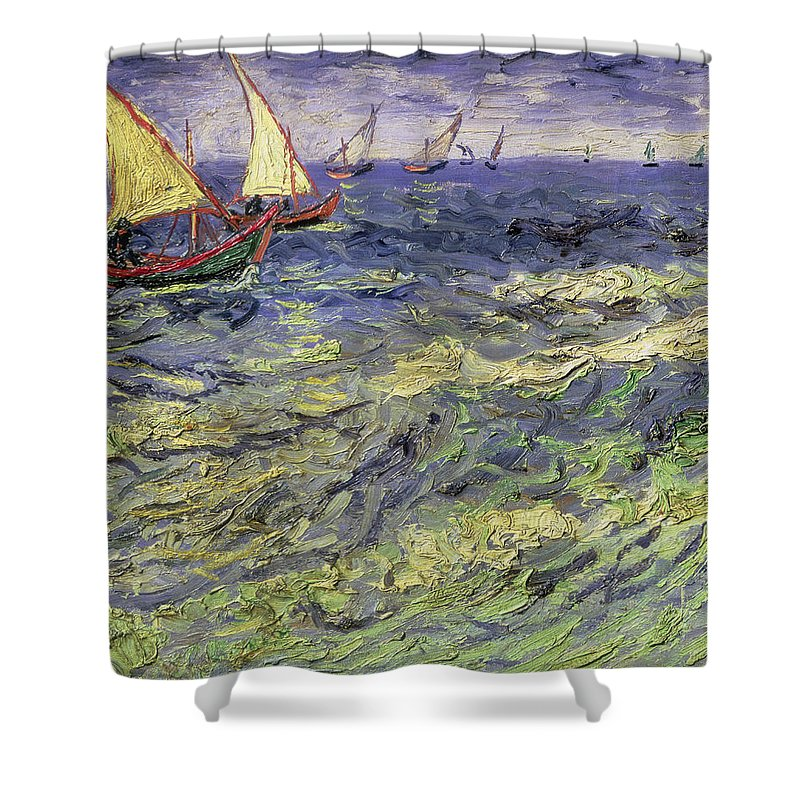Amazing Shower Curtain Featuring The Painting Seascape At Saintes