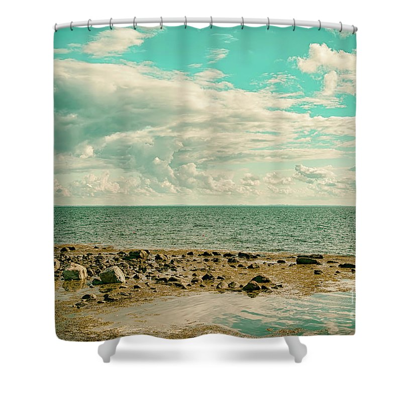 Horizon Shower Curtain featuring the photograph Seascape Cloudscape Retro Effect by Antony McAulay