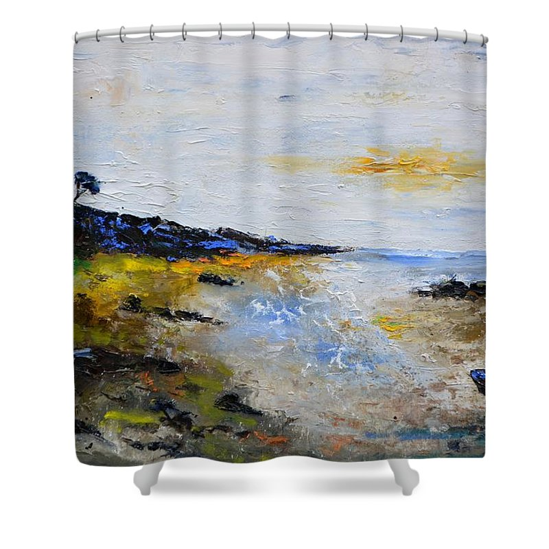 Seascape Shower Curtain featuring the painting Seascape in Bretagne by Pol Ledent