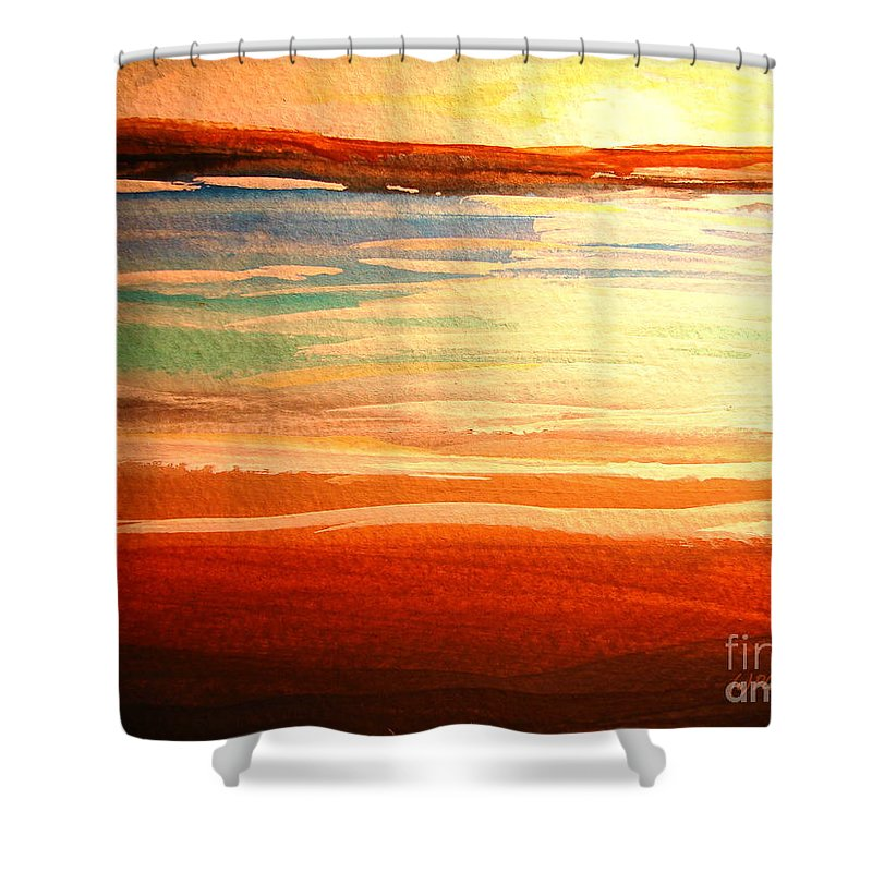 Blue Shower Curtain featuring the painting Seascape Sunset by Patricia L Davidson