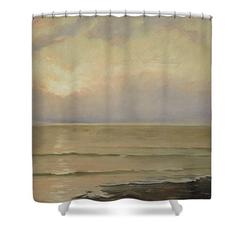 Antonio Mu�oz Degrain (1840�1924) Shower Curtain featuring the painting Seascape View by Antonio