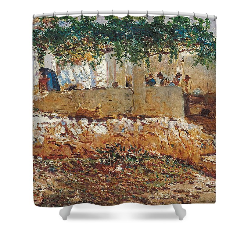 Antonio Mu�oz Degrain (1840�1924) Shower Curtain featuring the painting Seascape View Of Palma De Mallorca by MotionAge Designs