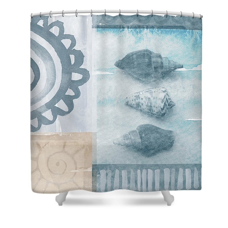 Beach Shower Curtain featuring the painting Seashells by Linda Woods