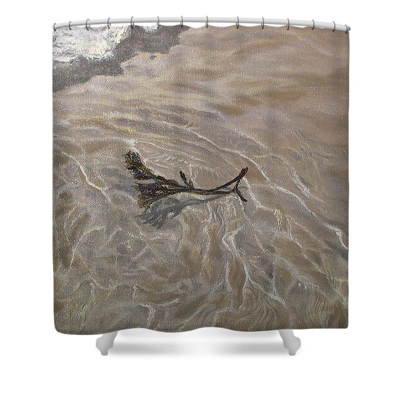Seascape Shower Curtain featuring the painting Seashore Reflections by Lea Novak