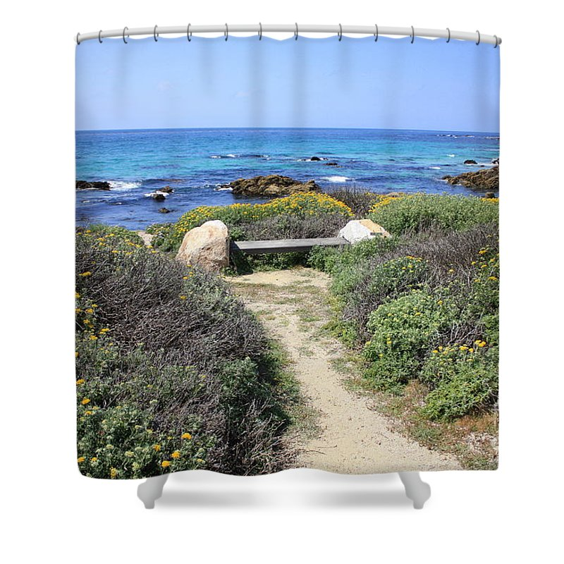 Landscape Shower Curtain featuring the photograph Seaside Bench by Carol Groenen