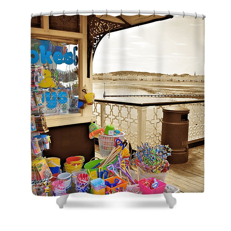 Seaside Shower Curtain featuring the photograph Seaside Buckets And Spades For Sale On Llandudno Pier by Mal Bray