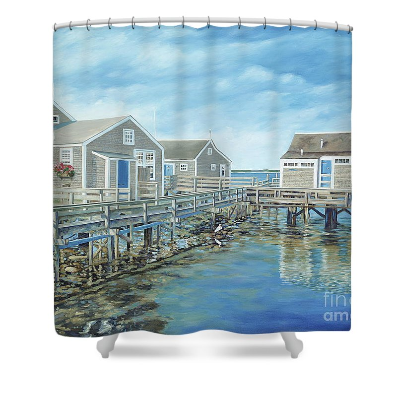 Nanutucket Shower Curtain featuring the painting Seaside Cottages by Danielle Perry