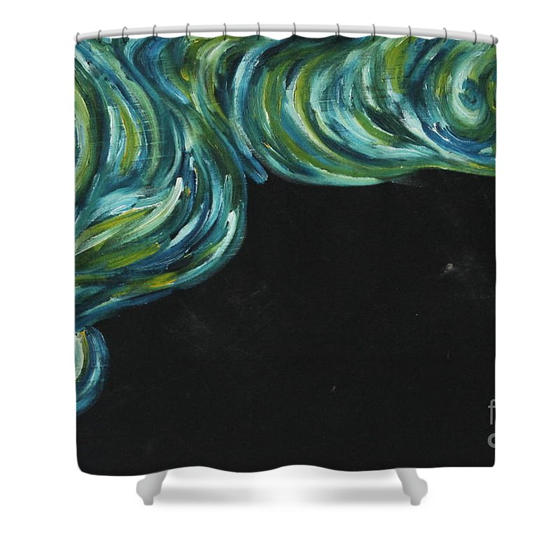 Art Shower Curtain featuring the painting Seaside Dreams 1 by Nour Refaat
