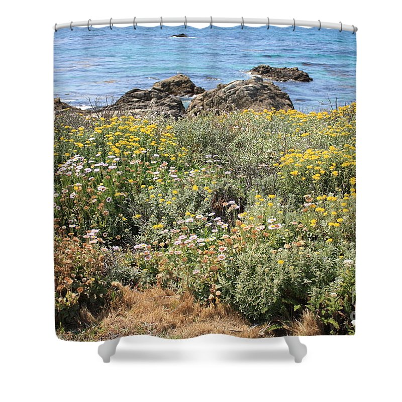 Seaside Flowers Shower Curtain featuring the photograph Seaside Flowers by Carol Groenen