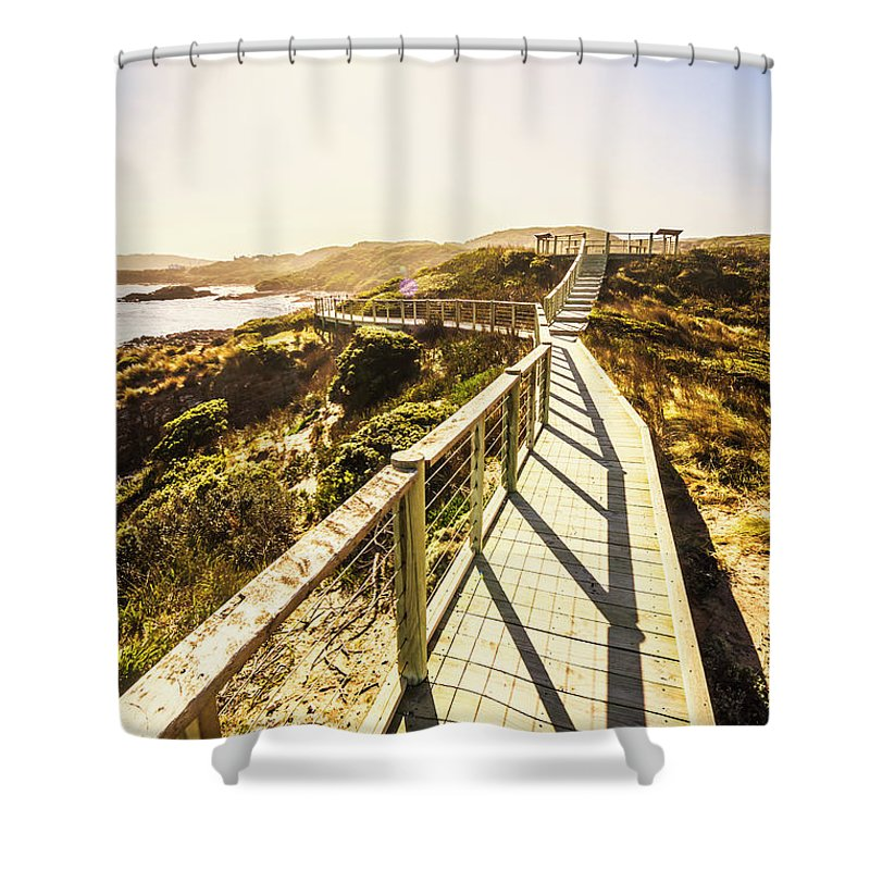 Promenade Shower Curtain featuring the photograph Seaside Perspective by Jorgo Photography - Wall Art Gallery
