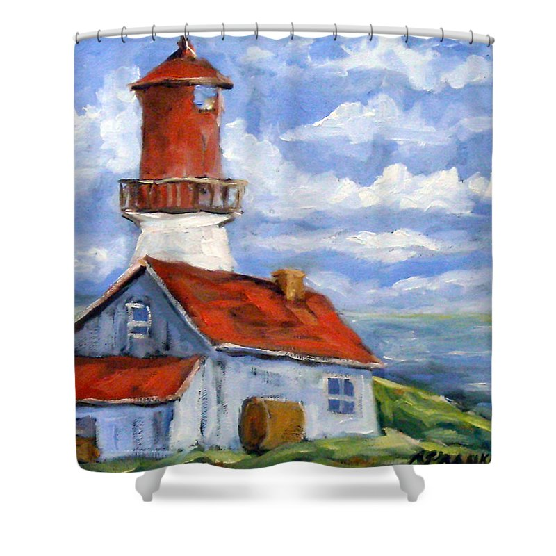 Art Shower Curtain featuring the painting Seaside Sentinal by Richard T Pranke