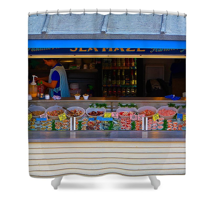 Crab Shower Curtain featuring the photograph Seaside Shellfish Snack Shack by Chris Lord