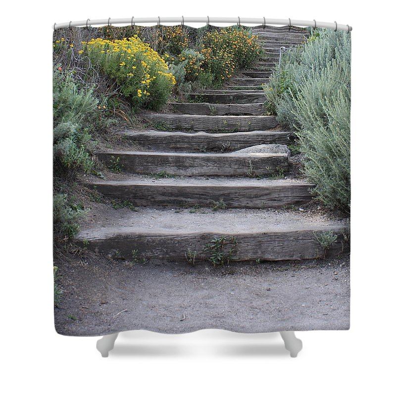 Seaside Steps Shower Curtain featuring the photograph Seaside Steps by Carol Groenen