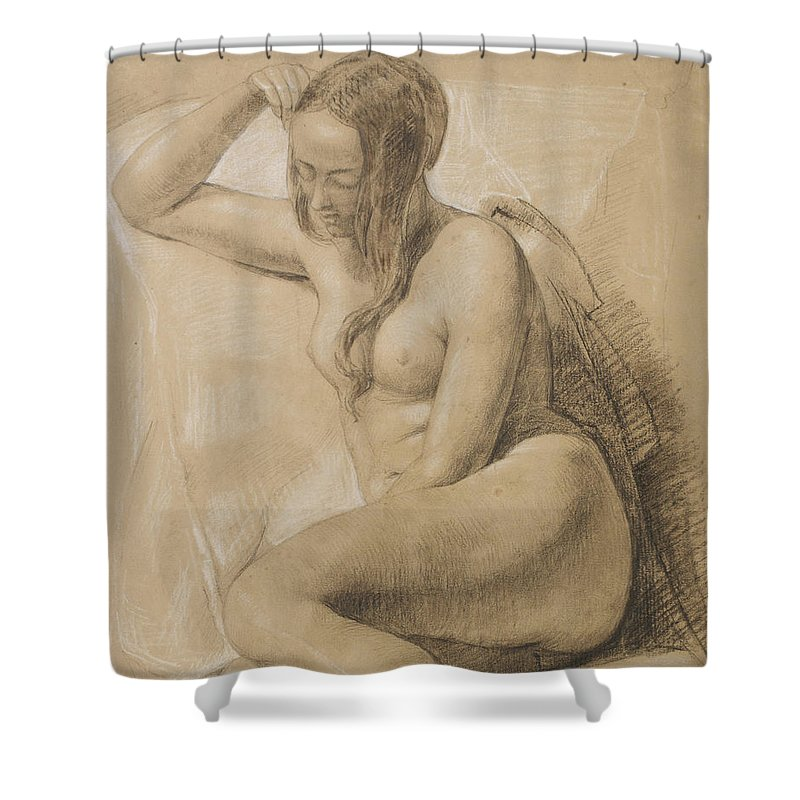 Nude Shower Curtain featuring the drawing Seated Female Nude by Sir John Everett Millais