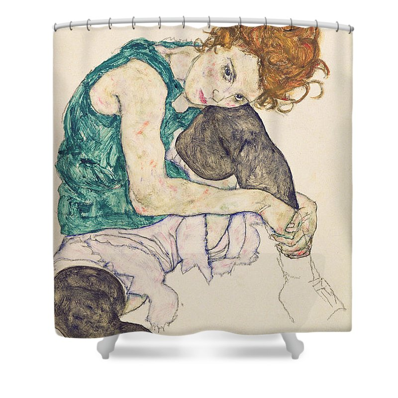 Egon Schiele Shower Curtain featuring the painting Seated Woman with Bent Knee by Egon Schiele