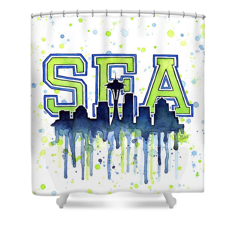 Watercolor Shower Curtain Featuring The Painting Seattle 12th Man Art Space Needle Go Seahawks
