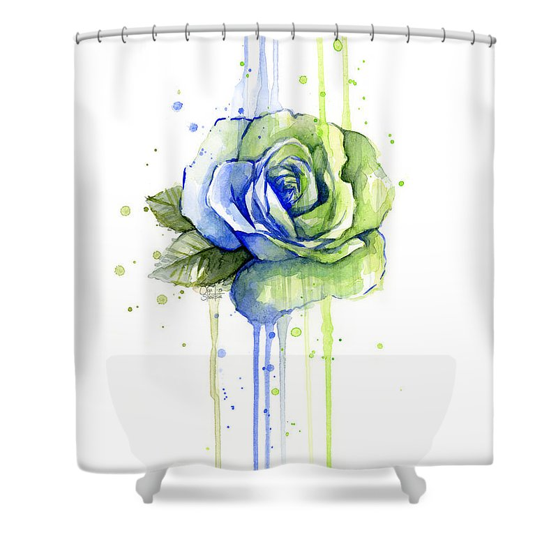 Seattle 12th Man Seahawks Watercolor Rose Shower Curtain For Sale By