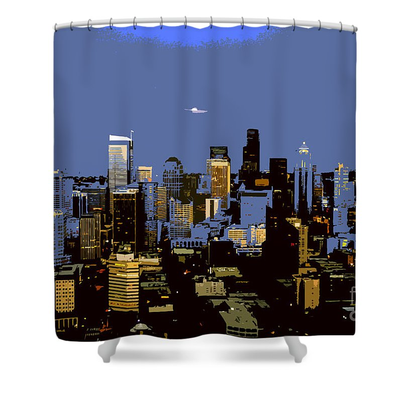 Seattle Washington Shower Curtain featuring the painting Seattle City by David Lee Thompson