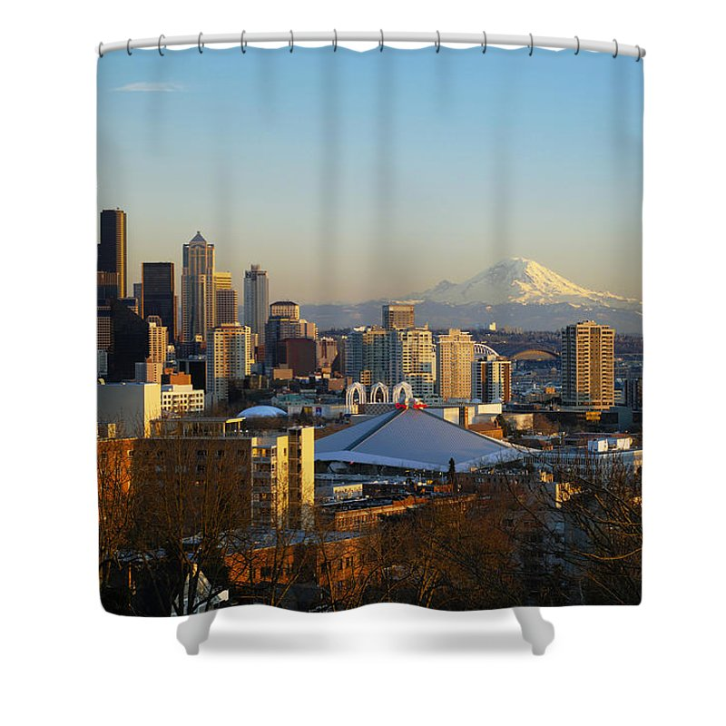 Afternoon Shower Curtain featuring the photograph Seattle Cityscape by Greg Vaughn - Printscapes