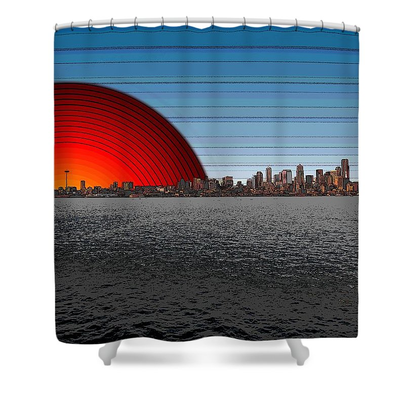 Seattle Shower Curtain featuring the digital art Seattle Dawning 2 by Tim Allen