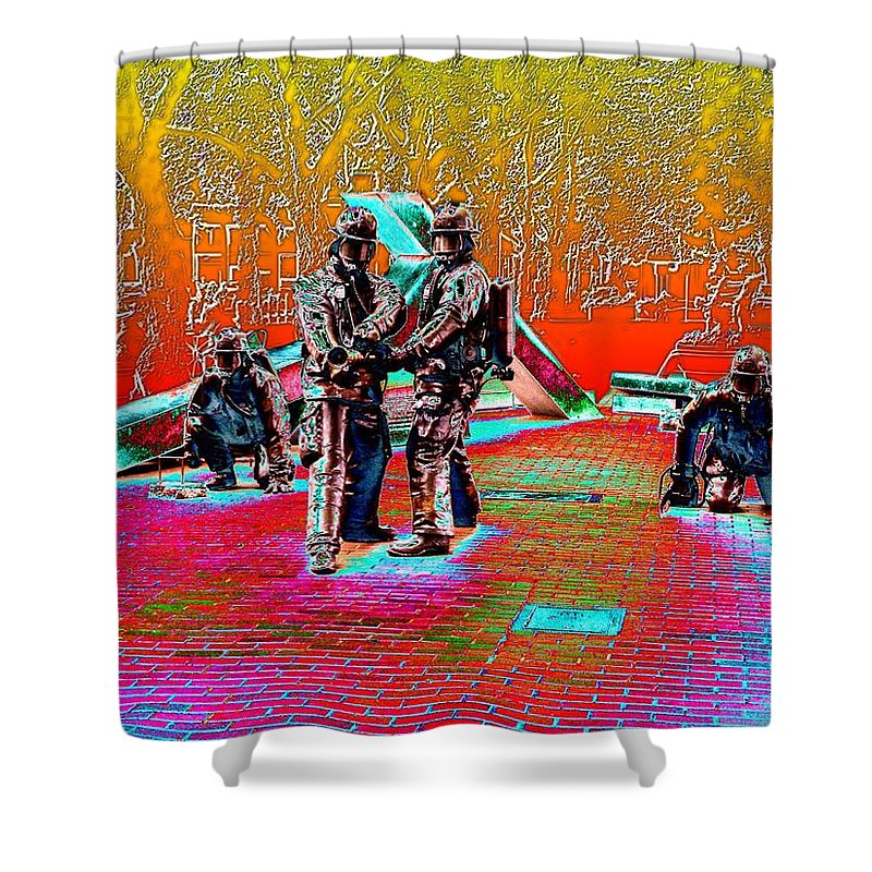 Seattle Shower Curtain featuring the digital art Seattle Fire Fighter Memorial by Tim Allen