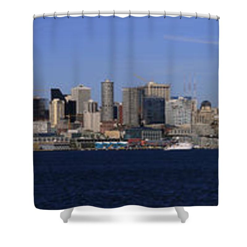 3scape Shower Curtain featuring the photograph Seattle Panoramic by Adam Romanowicz