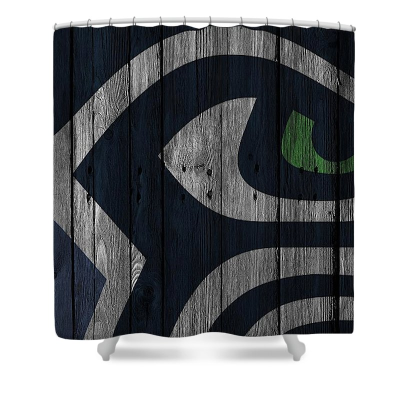 Seahawks Shower Curtain Featuring The Photograph Seattle Wood Fence By Joe Hamilton