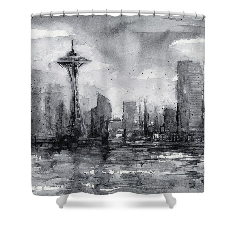 Seattle Shower Curtain featuring the painting Seattle Skyline Painting Watercolor by Olga Shvartsur