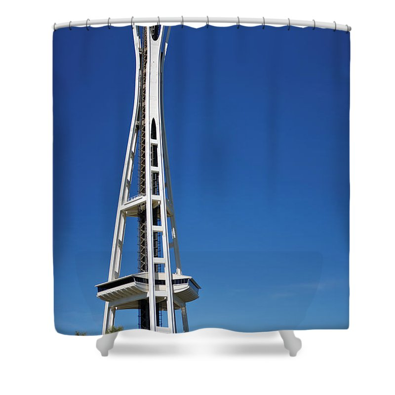 3scape Shower Curtain featuring the photograph Seattle Space Needle by Adam Romanowicz