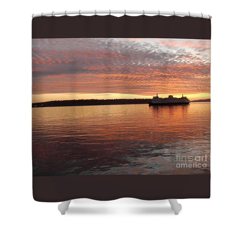 Sunset Shower Curtain featuring the photograph Seattle Sunset by Chris Colibaba