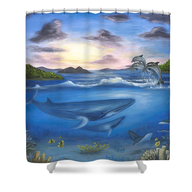 Landscape Shower Curtain featuring the painting Seaworld by Anne Kushnick