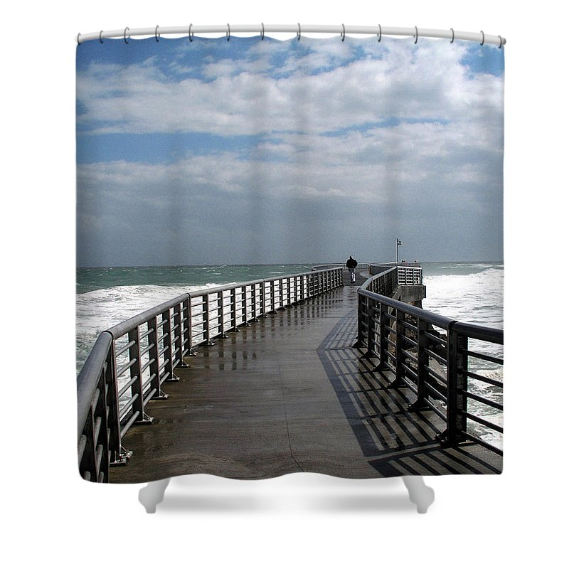 Walk; Solitary; Lonely; Sebastian; Inlet; Florida; Sea; Ocean; Water; Surf; Atlantic; Jetty; Waves; Shower Curtain featuring the photograph Sebastian Inlet On The Atlantic Coast Of Florida by Allan Hughes
