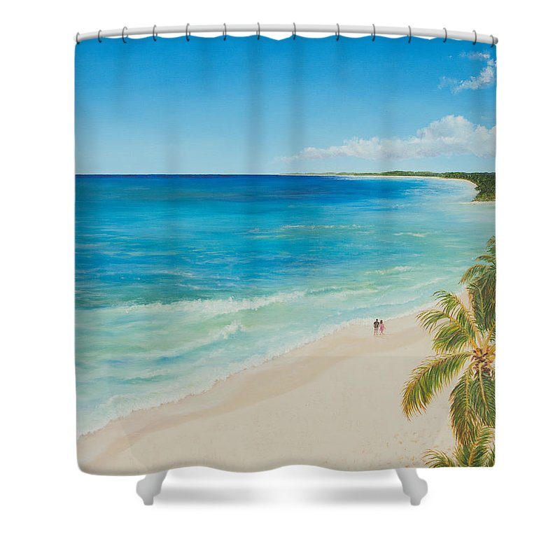 Beach Shower Curtain featuring the painting Secluded Beach Walk by Christine Brunette