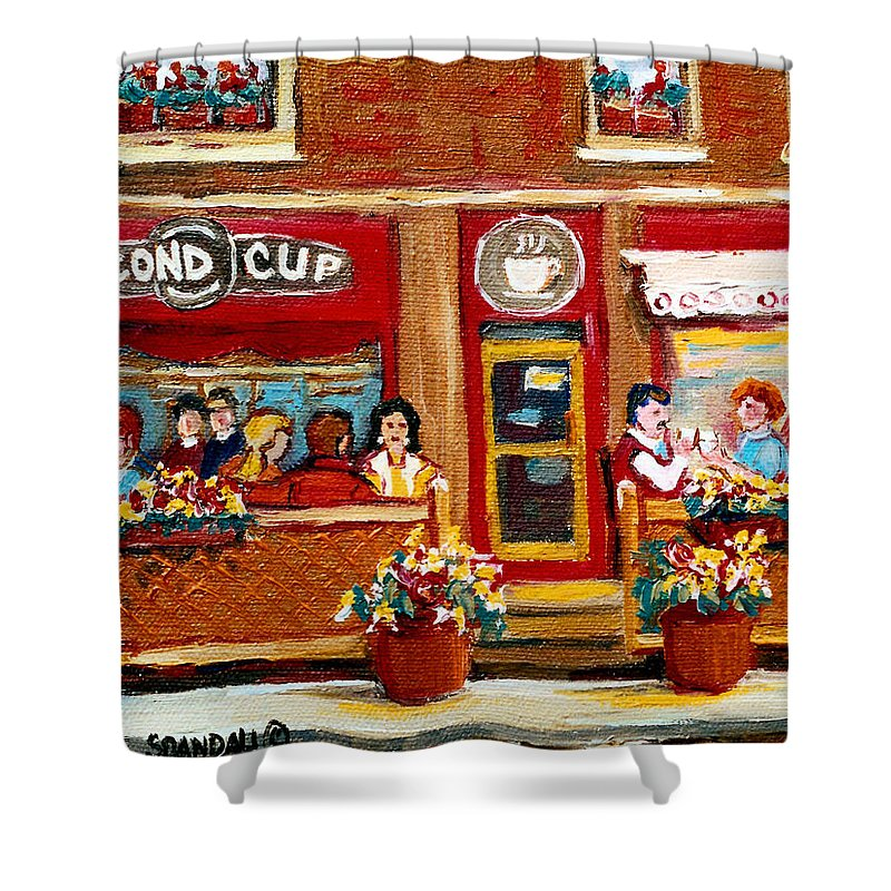 Second Cup Coffee Shop Shower Curtain featuring the painting Second Cup Coffee Shop by Carole Spandau