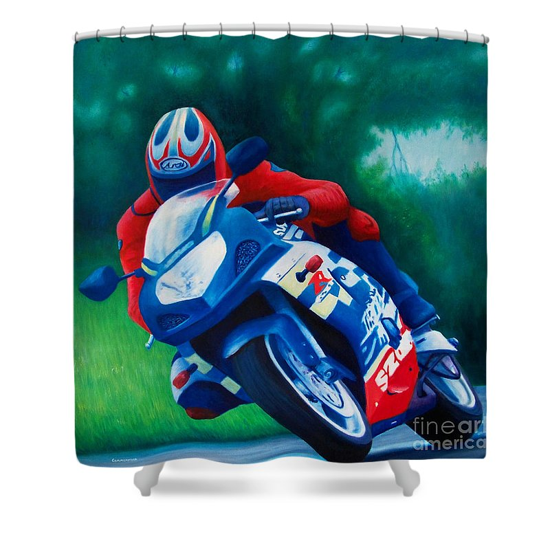 Motorcycles Shower Curtain featuring the painting Second Gear - Suzuki Gsx600 by Brian Commerford