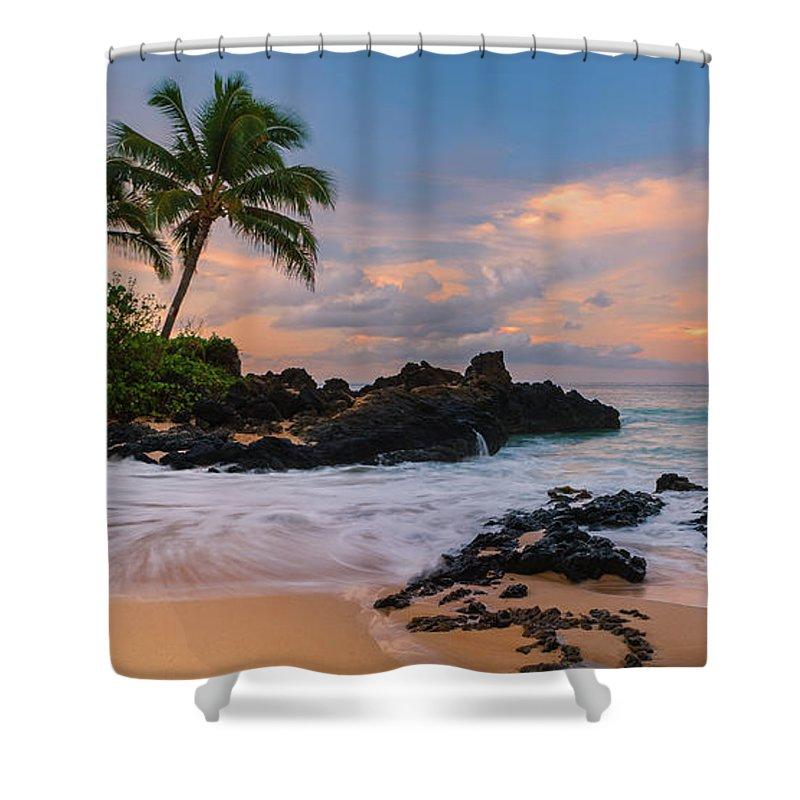 Idyllic Shower Curtain Featuring The Photograph Secret Beach